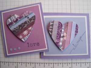 Paper strip heart mini cards