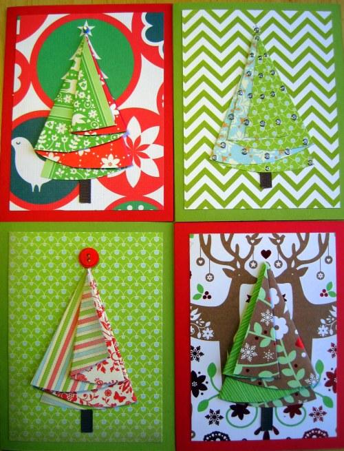 4 Half Circle Xmas Tree Cards
