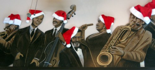 Jazz Cats in Santa Hats