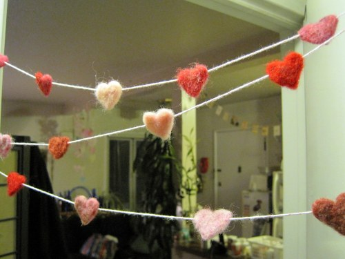 Felted Heart Garland