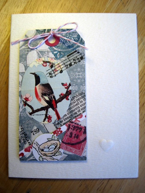 Collage Tag with Embossed Heart