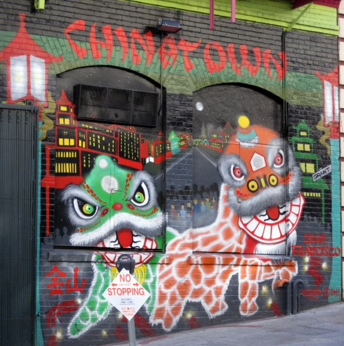 Mural of Chinese Lions