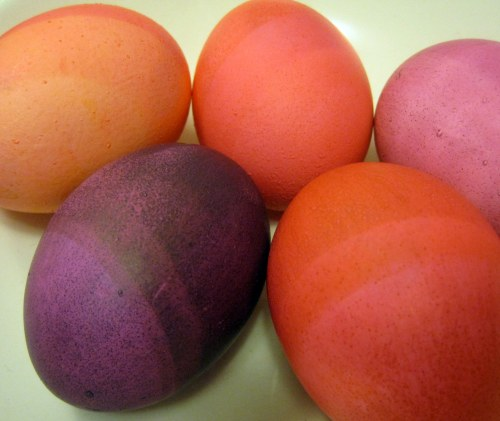 Purple, pink & orange eggs