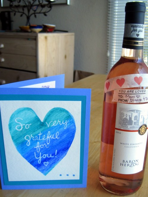 Mother's Day card & wine