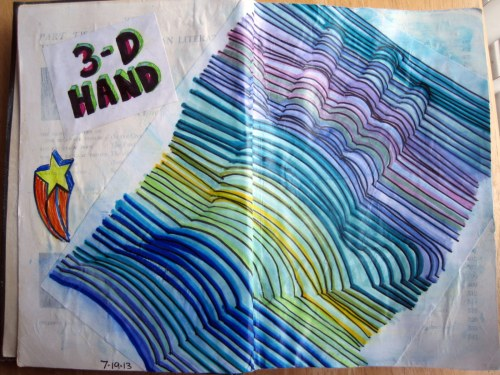 3-D Hand in Art Journal