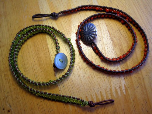 Two coiled bracelets