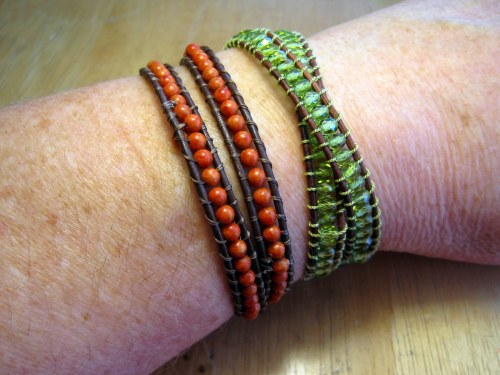 Coral and Green Wrap Bracelets