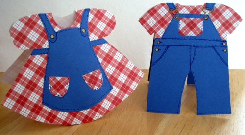 Plaid Dress & Denim Overalls Cards