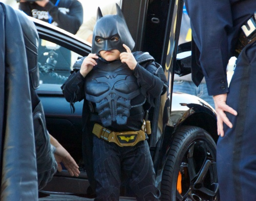 Batkid Adjusts His Mask
