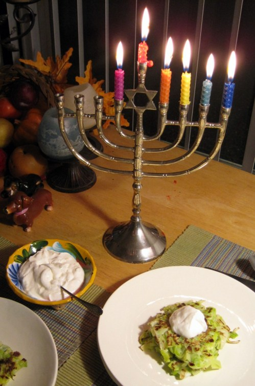 Leek Fritters with Menorah
