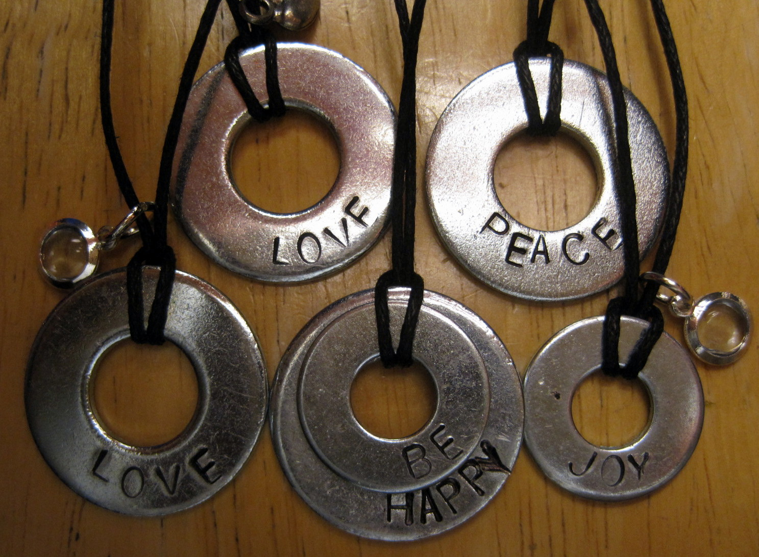 Hand stamped washer pendants dianne faw necklaces on cord aloadofball Choice Image