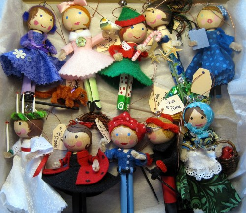 Box of Clothespin Doll Ornaments