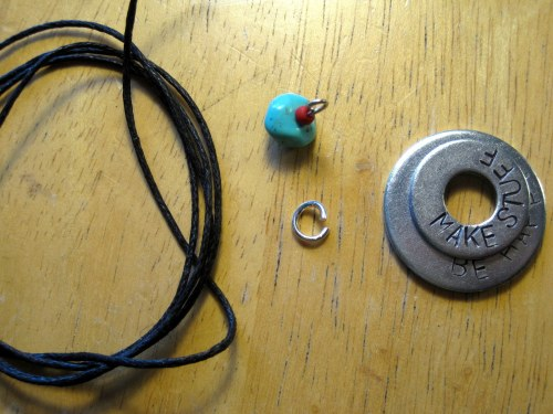 Cord, charm, jump ring, washers