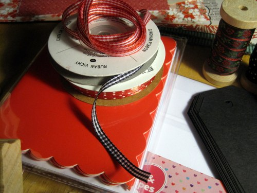 Cards and rolls of ribbon