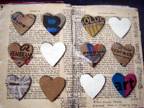 Art Journal page of Hearts