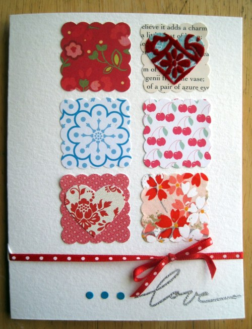 dotted ribbon scalloped squares
