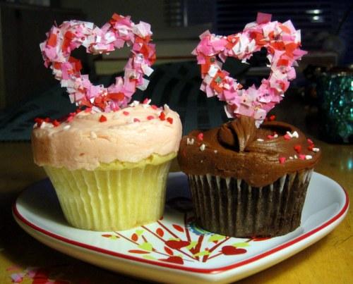 Two confetti hearts