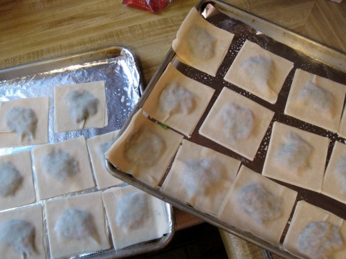 pans of ravioli