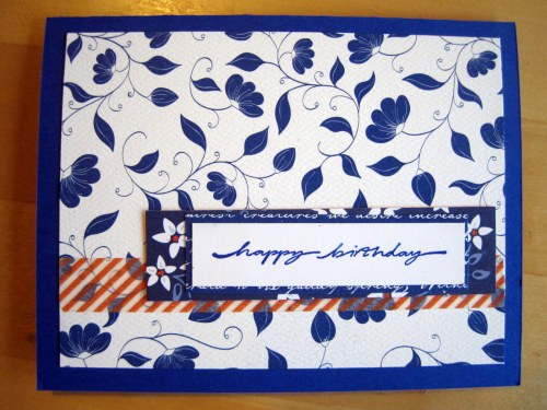 Blue, White, Orange card
