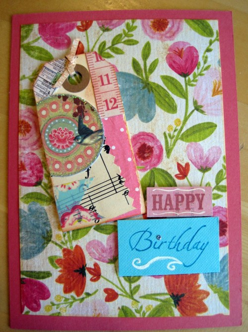 Pink and turquoise floral card