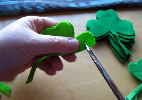 Cutting slit in felt