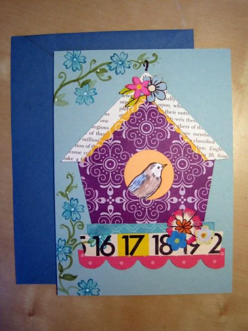 Purple Birdhouse Card