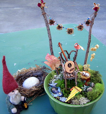 gnome and fairy garden