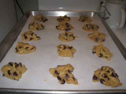 Allow plenty of space between cookies so they do not touch when done baking.