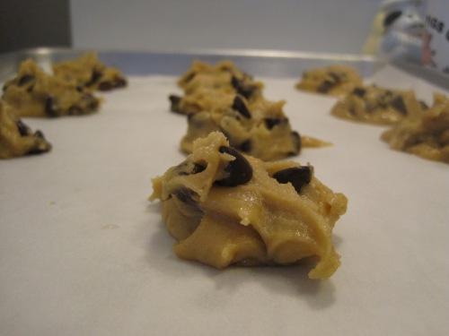 Chocolate chip cookie dough awaiting baking.