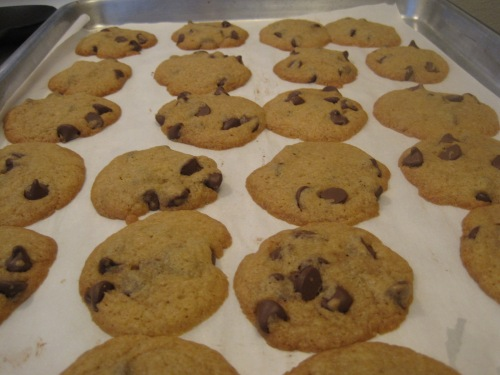 Take the cookies out once the edges are golden brown.